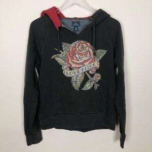 Lucky Brand Love & Luck Hoodie Sweatshirt